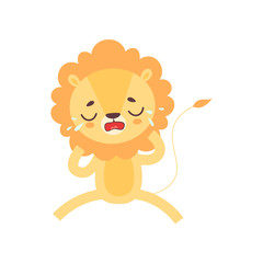 Cute Lion Crying with Tears, Adorable African Animal Cartoon Character Vector Illustration