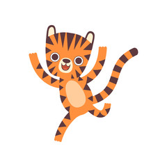 Cute Happy Little Tiger Running, Adorable Wild Animal Cartoon Character Vector Illustration