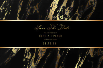 Wall Mural - Wedding Invitation and Save The Date CardDesign with Luxury Marble Golden background  pattern. Can be adapt to covers design, RSVP, brochure, Packaging, Magazine, Poster and Greeting cards.