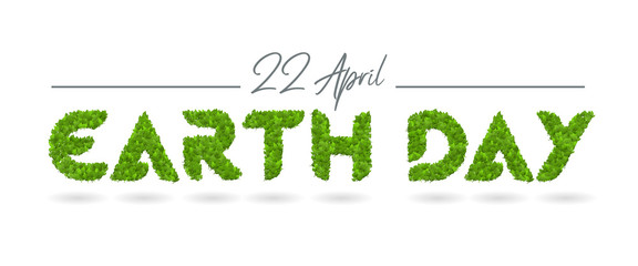 Earth day vector leaves poster design template