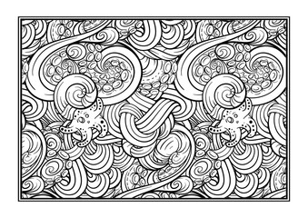 Adult coloring page with undersea world. Vector sea creatures doodles.