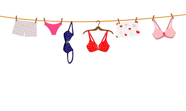 Pantie, bra and lingerie hanging on rope. Vector illustration.