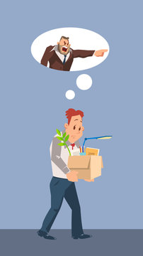 Fired Unhappy Man Carry Cardboard Box with Stuff
