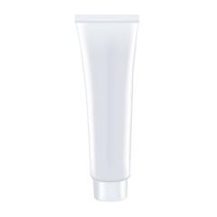 Blank white toothpaste tube isolated on white background. Photorealistic vector mockup