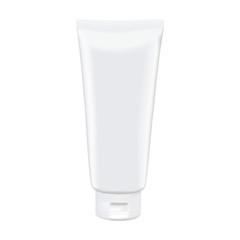 Blank white tube mockup isolated on white background. Photorealistic vector mockup