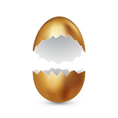 Broken golden easter egg on white background. Colored eggs. Cracked golden shell. Happy easter concept. Vector, space for text