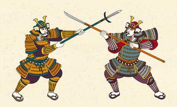 Two Japanese samurai fighting
