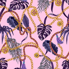 Trendy seamless pattern with chains and tropical leaves