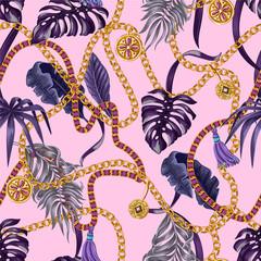 Modèle sans couture à la mode avec des chaînes et des feuilles tropicales