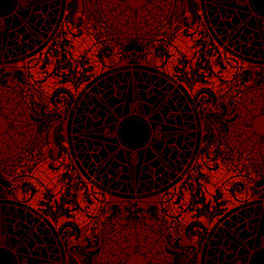 Seamless gothic pattern with baroque victorian compass, black silhouette on red. Graphic nautical illustration, historical adventure concept, vintage transportation background