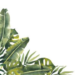 Watercolor tropic corner arrangement template. Green banana leaves, coconut palm leaves, monstera