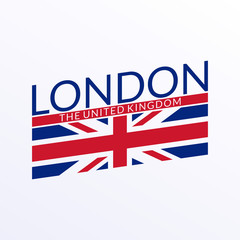 London Text Typography Design With England Or Uk Flag