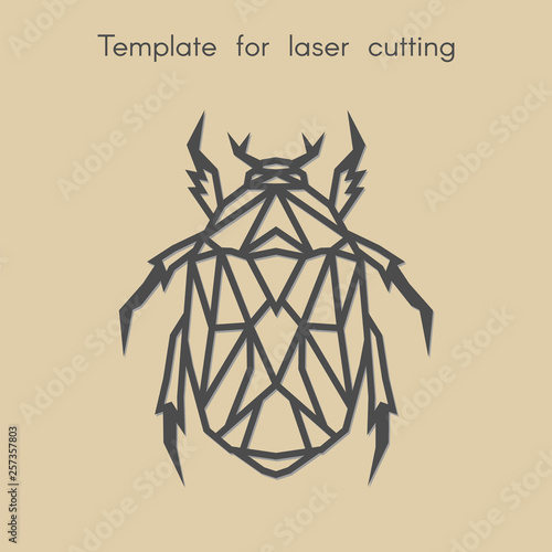 Template animal for laser cutting  Abstract geometric beetle
