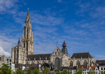 Cathedral on Grote Markt in Antwerp - Belgium