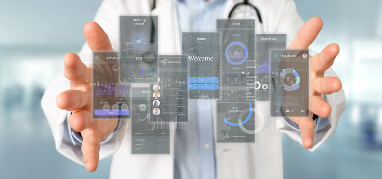 Doctor holding User interface screens with icon, stats and data 3d rendering