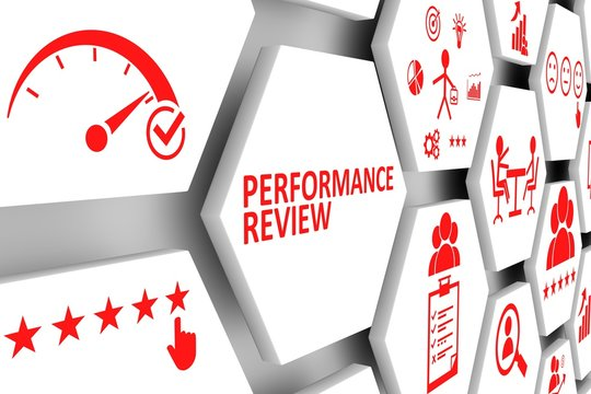 PERFORMANCE REVIEW concept cell background 3d illustration