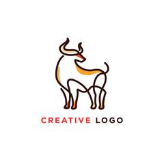 line art illustration of bull logo designs, colorful bull logo template