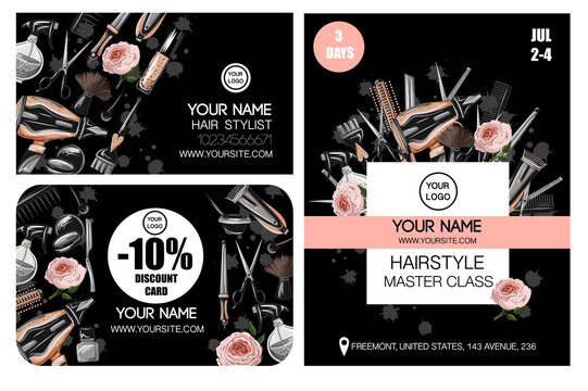 Business, discount card and flyer for master class for hairdresser or barber. Vector.