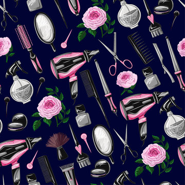 Seamless pattern with hairdresser tools such as hairdryer, comb, scissors, mirror, hair dye and other.
