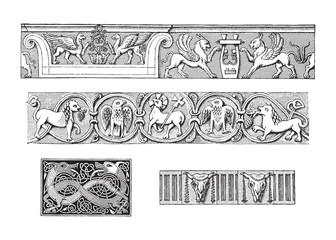 Decorative ornamental borders with animals / vintage illustration from Meyers Konversations-Lexikon 1897