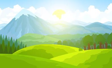 Keuken foto achterwand Lime groen Summer mountain landscape. Green valley vector illustration.