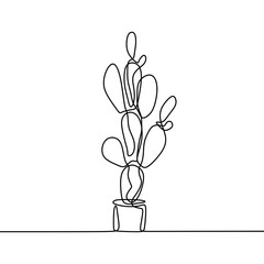 One line drawing of cactus isolated on white background