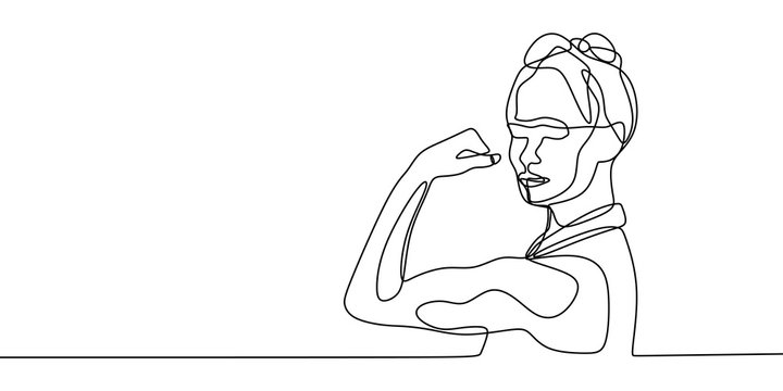 Strong women continuous one line drawing vector illustration. Concept of girl power minimalism design.