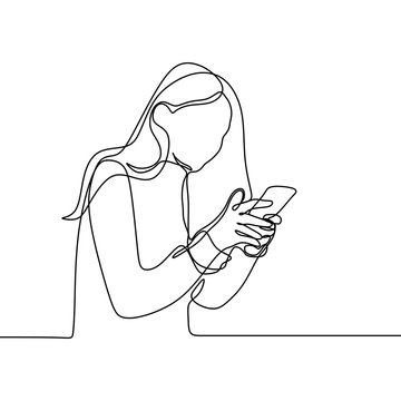 Girl playing and using smart phone continuous line drawing. One lineart of women communication concept vector with mobile gadget technology minimalism design illustration.
