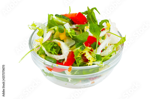 Fresh Healthy Vegetable Salad Isolated On The White