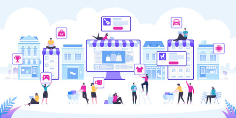 Online Shopping and Delivery of Purchases. Ecommerce Sales