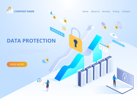 Data protection concept. Vector isometric illustration for landing page