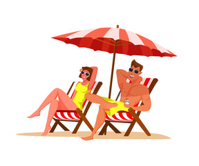 Couple relaxing on beach flat color illustration