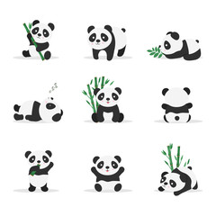 Cute pandas flat vector color illustrations set