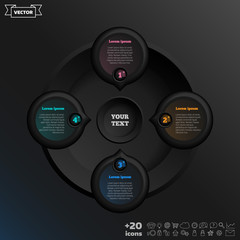Vector infographic design with colorful circle on the black background. Business concept. 4 options, parts, steps. Can be used for graph, diagram, chart, workflow layout, number options, web