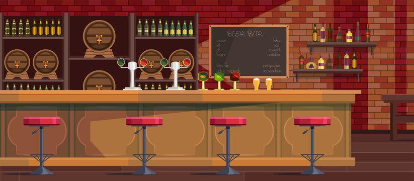 Beer bar interior cartoon vector illustration