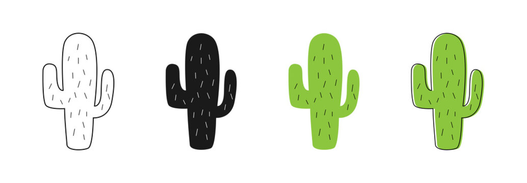 Isolated Cactus icons. Cactus vector icons. Set of different style cactus. Linear, web, flat and cartoon design
