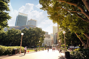 SYDNEY, AUSTRALIA November 20, 2017: Sun rays on trees of Hyde Park, in the background the city skyscrapers. Tourists and residents walk in the park