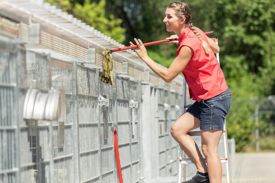 Zookeeper woman working on cleaning cage in animal shelter