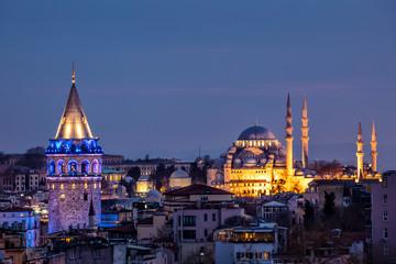 Istanbul, Turkey. Galata Tower and Suleymaniye Mosque at night. Wall mural