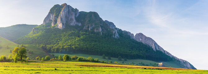 beautiful panorama of romania countryside. wonderful sunny morning in mountains. grassy meadow on the hillside and Piatra Secuiului