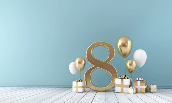 Number 8 party celebration room with gold and white balloons and gift boxes.