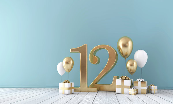 Number 12 party celebration room with gold and white balloons and gift boxes.