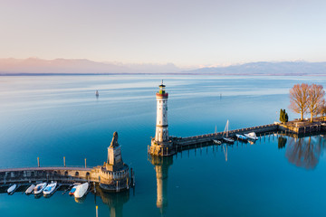 Aerial view of the Lighthouse in Lindau Harbour, Lake Constance, Bavaria, Germany