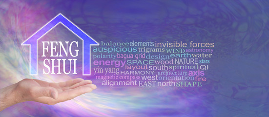 Feng Shui Word Tag Cloud - male hand with a house shape containing the words FENG SHUI floating above beside a relevant word cloud against a lilac pink psychedelic background