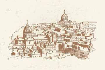 Wall Mural - view of historic center of Rome, Italy