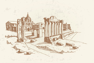 Wall Mural - vector sketch of Ancient ruins of Roman Forum or Foro Romano, Rome, Italy.