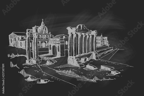 Wall mural vector sketch of Ancient ruins of Roman Forum or Foro Romano, Rome, Italy.