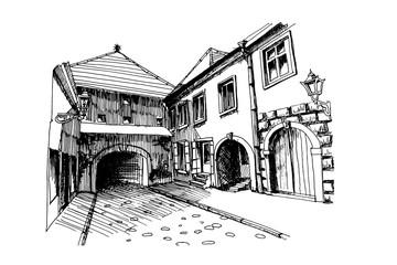 Wall Mural - Vector sketch of Old Fortress Gate, Kamenita Vrata, Zagreb, Croatia