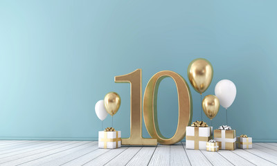Number 10 party celebration room with gold and white balloons and gift boxes.  Fototapete