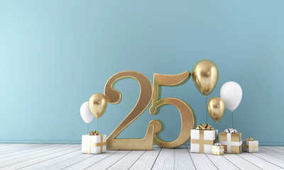Number 25 party celebration room with gold and white balloons and gift boxes.